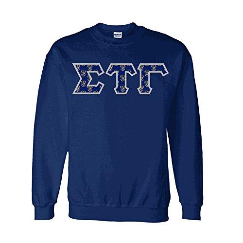 Sigma Tau Gamma Fraternity Crest Twill Letter Crewneck Sweatshirt X-Large Navy Blue