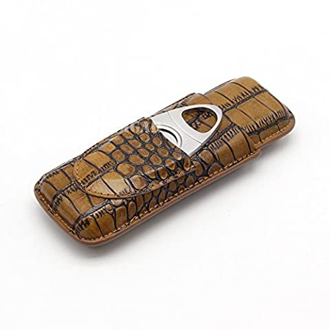 GALINER 2ct Cigar Case Lightweight Minimalist Genuine Leather Tubes Pocket Humidor (Brown) - Personalized Cigar Case