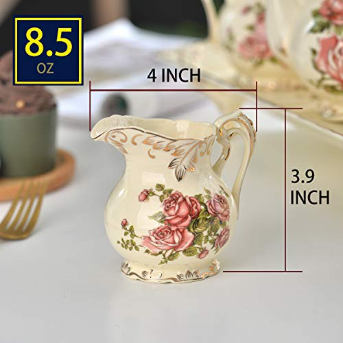 YOLIFE Sugar and Creamer Bowl Ceramic Set with Red Rose Pattern Golden Leaves Edge by YOLIFE (Image #2)