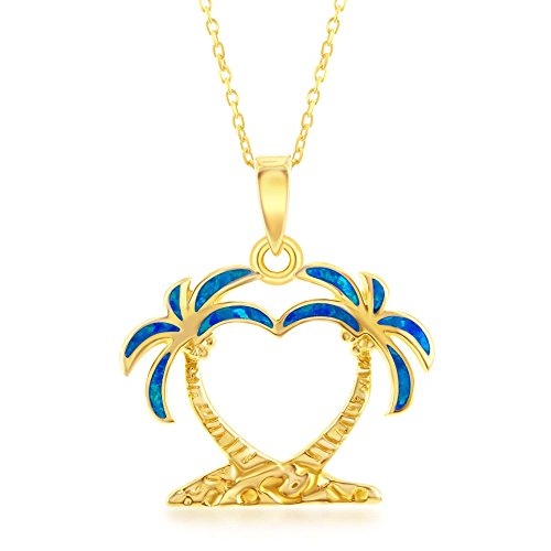 Palm Silver Tree Sterling Inspired (Beaux Bijoux Sterling Silver Gold Tone Created Blue Opal Double Palm Tree 18