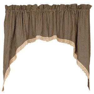 Country Primitive Granny's Check Lace Trim Black Tan Cafe Curtains Swags 72