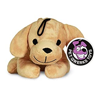 Pet Qwerks Panting Puppy Squeaky Sound Plush - Strong & Durable Stuffed Pet Toy with Funny Squeaks for Small, Medium, Large Dogs & Puppies