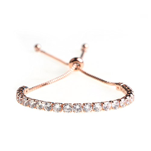 ASHMITA Fashion Adjustable Chain Bracelet for Women,Cubic Zirconia Rose Gold Gift Bracelet of Luxury Shining Jewelry]()