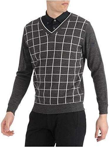 ゴルフウェア セーター Vネック ニット 防風素材 52MC9521 メンズ キャスチャコール ウィメンズフリー(23~25cm) (FREE サイズ)