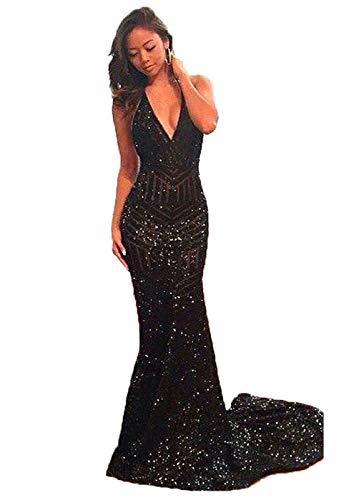 Black Sequin Halter Dress - DYS Women's Halter Mermaid Prom Dress V Neck Black Evening Gowns Backless (US8)