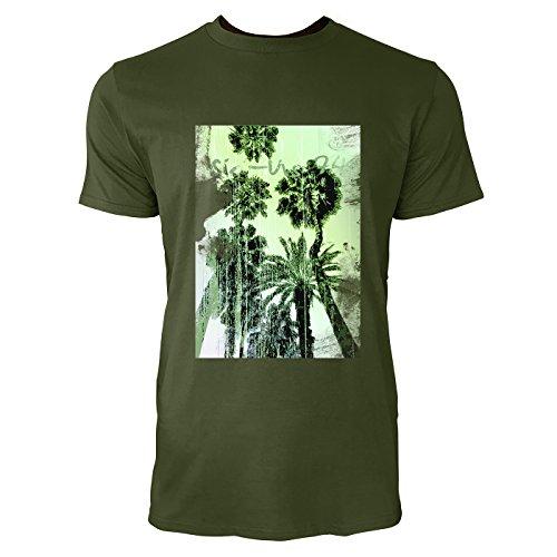 SINUS ART® Palmen vor Ombre Hintergrund Herren T-Shirts in Armee Grün Fun Shirt mit tollen Aufdruck