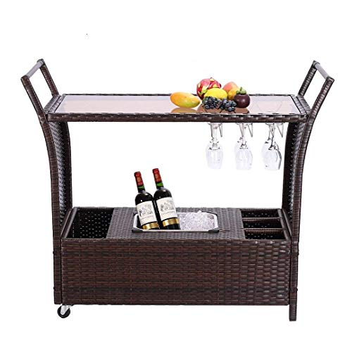 HTTH Outdoor Bar Cart, Easy to Assemble Wicker Bar Cart, Durable and Stable Rattan Bar cart, Space Saving Wicker Serving Bar Cart