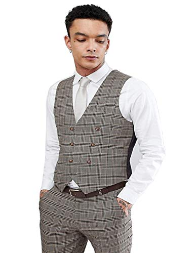 COOFANDY Mens Double Breasted Suit Vest Slim Fit Business Formal Wedding Dress Waistcoat