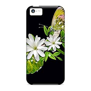 Quality ArtCart Case Cover With Flowers On Black Nice Appearance Compatible With Iphone 5c