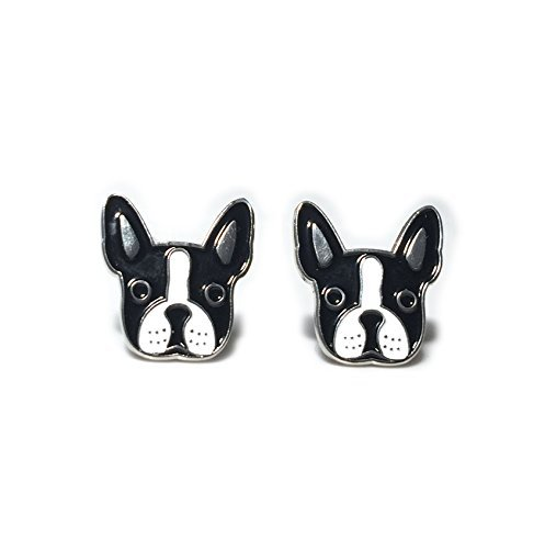 Boston Terrier Stud Earrings Enamel Pierced Women Teens Girls Jewelry Gift