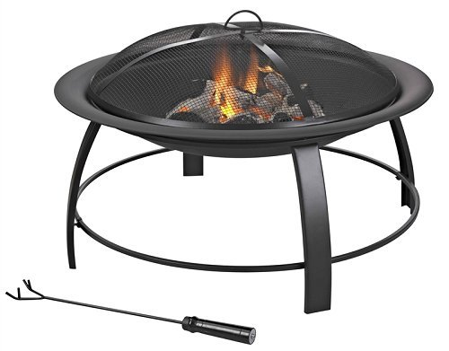 Homebasix KLF-150031 Firepit Round Steel - Material: Steel Product is of great value Easy to use and simple to assemble - patio, outdoor-decor, fire-pits-outdoor-fireplaces - 41CmXfkviXL -
