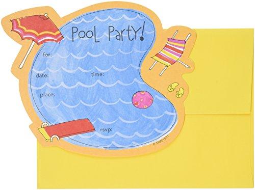 Flip Flop Border - Mara-Mi Pool Party Die-Cut Fill-In Invitation, 10-Count (MM0163202)