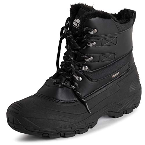 POLAR Mens Waterproof Outsole Deep Tread Fully Faux Fur Lined Winter Durable Snow Boots - Black Lace Up - EU41/US8 - YC0682