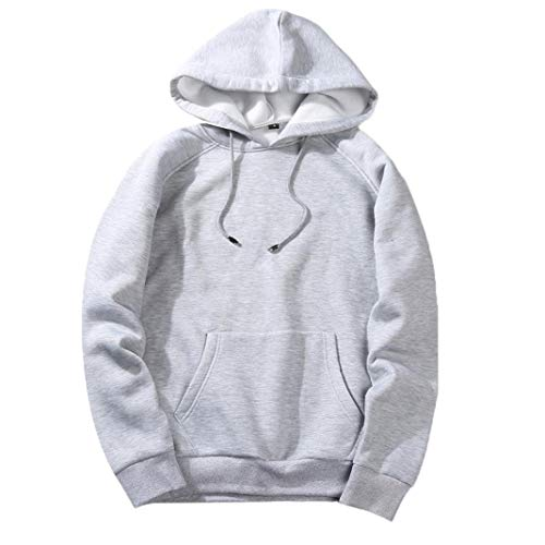 Clearance Deals Men's Casual Solid Hip Pop Hooded Sweatshirt - vermers Mens Loose Fit Fleece Long Sleeve Hoodie Tops(L, Grey) by vermers