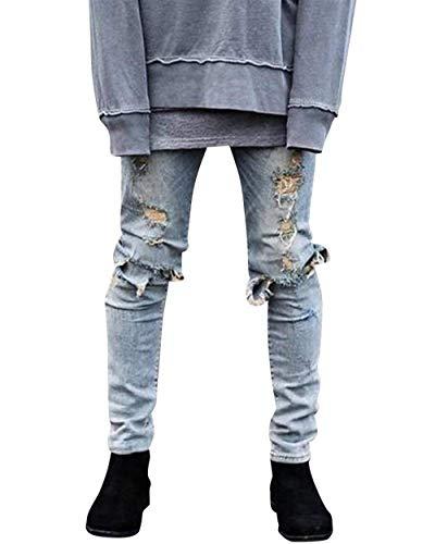 Jeans Moderna Motociclista Casual Moda Denim Hellblau Strappati Distrutti Slim Fit Vintage Da Pantaloni Uomo In Stretch arqUaw0