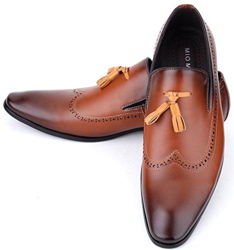 Mio Marino Leder Herren Anzugschuhe: Elegante Derby Schuhe Aus Echtleder - Schnürhalbschuhe & Business Schuhe für Jeden Anlass - Umbra - Tassle Loafer - 45 EU