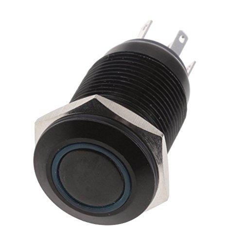 防水 瞬時 押しボタンスイッチ LEDリング 16mm IP67 ラッチング アルミ酸化