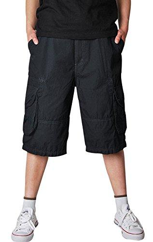 Topshow Men's Summer Outdoor Business Fashion Wear Work Cotton Cargo Shorts Black 30
