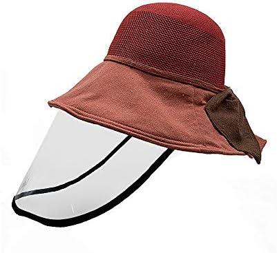 ハット 防護取り外可 漁師帽 無地帽子 花粉症対策 防塵 フェイスカバー つば広ハットコットン 男女兼用 赤