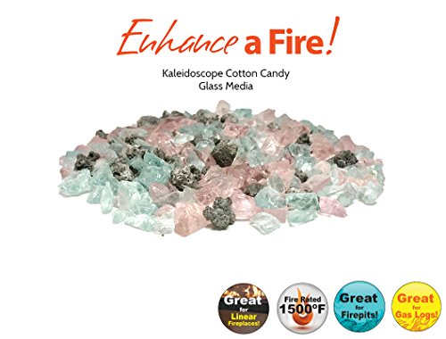 Kaleidoscope Luxury Blended Fire Glass and Mixed Media (Cotton Candy) ()