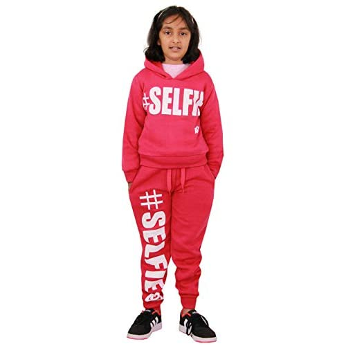 Kids Girls Tracksuit Fleece Hooded Hoodie Bottom Jogging Suit Jogger 5-13 Years