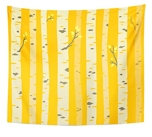 Emvency Tapestry Artwork Wall Hanging Orange Abstract Autumn Aspen Grove Tileable Pattern Birch Trees with Yellow Leaves 50x60 Inches Tapestries Mattress Tablecloth Curtain Home Decor Print]()
