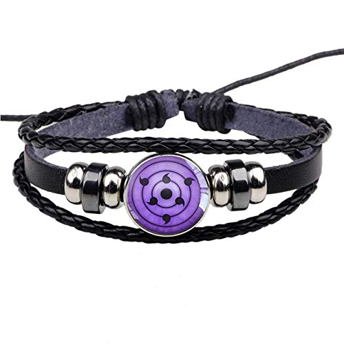 Uchiha Clan Rinnegan Sharingan Eye Bracelet Anime Naruto Braided Leather Bracelet Naruto Sasuke Itachi Kakashi Cosplay Jewelry