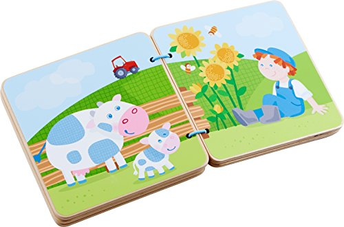 HABA Tractor Wooden Baby Book with Easy Turn Pages - Find All The Things Farmer Peter has on his Farm - Ages 10 Months and Up