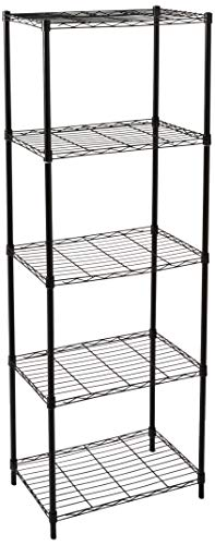 Home Basics Wire Shelving Storage Unit (5 Tier, Black) - Home Storage Rack