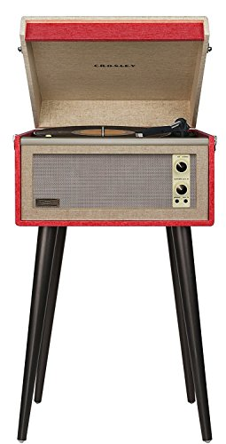 Crosley CR6233D-RE Dansette Bermuda Portable Turntable with Aux-In and Bluetooth, Red (Dansette Record Player)