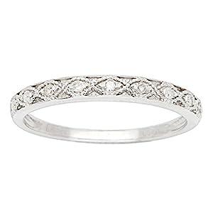 10k White Gold Vintage Style Diamond Wedding Band (1/10 cttw, I J Color, I2 I3 Clarity)
