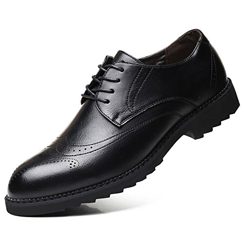 Oxford Shoes Scarpe da Uomo in Pelle Scarpe Casual in Pelle da Uomo Scarpe da Uomo con Punta di Lacci Oxford Bullock Shoes Black