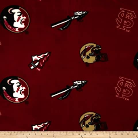 Collegiate Fleece Florida State University Tossed Red/Black Fabric By The Yard - Florida State Fleece Fabric