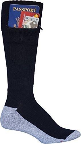 Pocket Socks by Zip It Gear - Passport Security Travel Socks, Mens (One Size Fits All)
