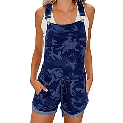 Imily Bela Womens Casual Jumpsuits Camouflage Bib Pants Cuffed Hem Loose Romper Overalls: Clothing