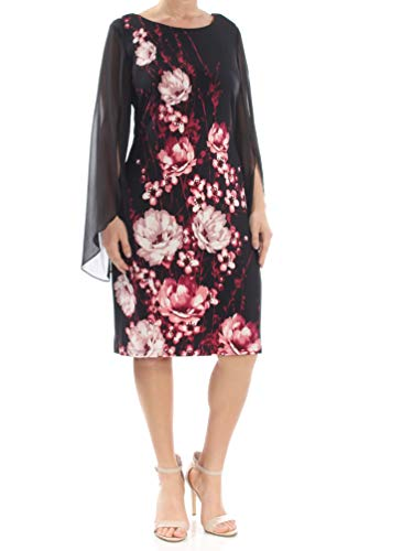 - Connected $79 Womens New 1028 Black Chiffon Sleeve Floral Shift Dress 12 B+B