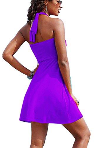 Casual Halter Swing Mini playa vestido de las mujeres con cinturón Purple