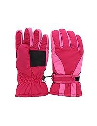 Waterproof Slant Design Ski Gloves for Youth - Hot Pink