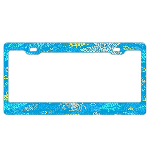 Licence Plate Frame, Funny Stainless Steel Car Tag Frame for US, Ocean Beach License Plate Holder Sea Crabs Seashells Starfish