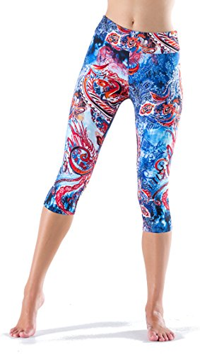 6411d5fcc2634f Lush Moda Extra Soft Capri Leggings with Designs- Variety of Prints - 297YC  Paisley Dream