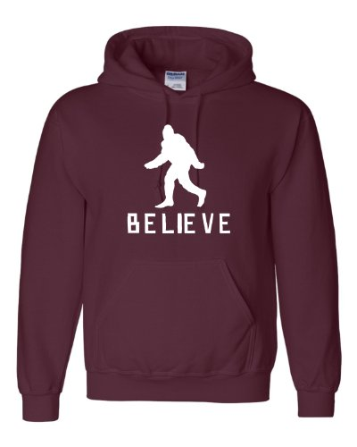 Large Maroon Adult Bigfoot Believe Sasquatch Squatch Sweatshirt Hoodie