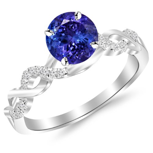 14K White Gold Twisting Infinity Gold and Diamond Split Shank Pave Set Diamond Engagement Ring with a 1 Carat Tanzanite AAA Heirloom Center Stone