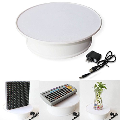 PAPY, Round White Velvet Top Electric Motorized 360° Rotating Display Stand Turntable