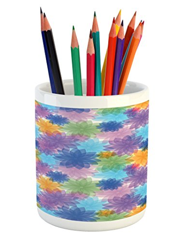 Lunarable Abstract Pencil Pen Holder, Vibrant Floral Radiant Petals Spring Nature Beauty Girls Essence Fragrance Theme, Printed Ceramic Pencil Pen Holder for Desk Office Accessory, Multicolor
