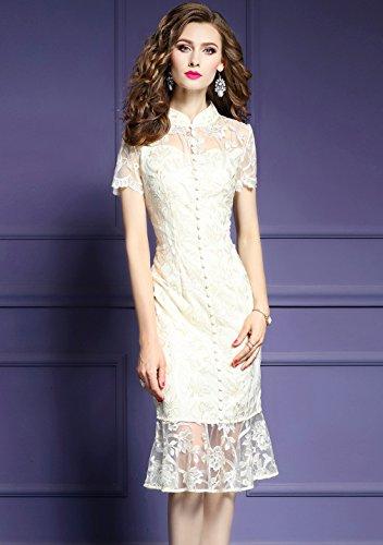 Women`s Cotylédons Colliers Émetteurs Robes Formelles Robe Broderie Coupe Slim Beige