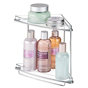 Mdesign 2 Shelf Corner Storage Organizing Caddy Stand For Bathroom Vanity Countertops, Shelving Or Under Sink – Free Standing, 2 Tiers - Steel Wire Frame In Chromeclear Shelves 1