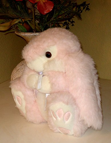 (Bunny Rabbit Pink and White Chunky Plush - Sits 12 Inches)