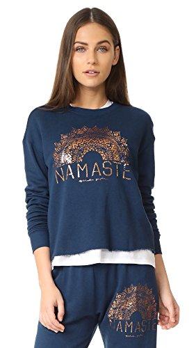 Spiritual Gangster Women's Namaste Sun Rays Crop Sweatshirt, Indigo, Medium (Gangster Woman)