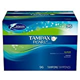 Tampax Pearl Unscented Tampons, Super Absorbency (Pack of 2, 192 Total)