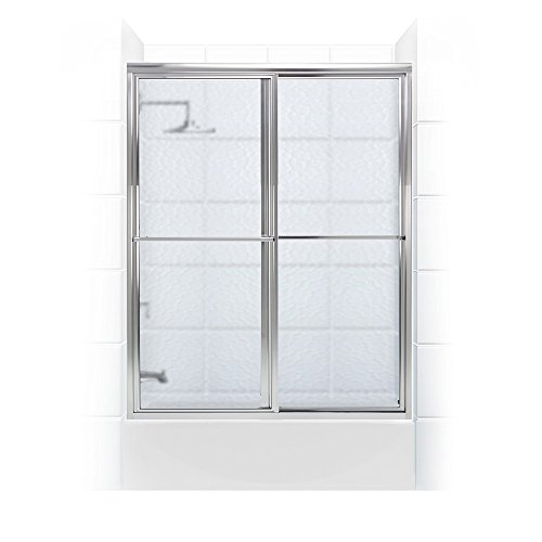Tub Door Obscure Glass - Coastal Shower Doors 1554.58B-A Newport Series Framed Sliding Tub Door with Towel Bar in Obscure Glass 54